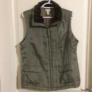 Cico's Zip Front Vest Taupe Color size 2/L/12